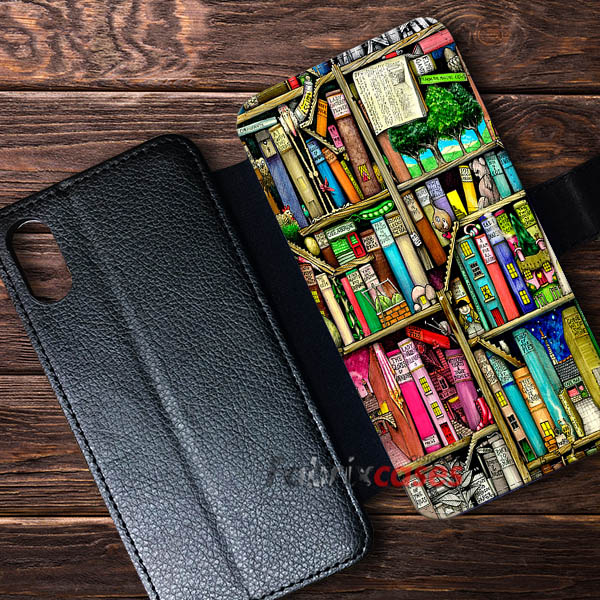 Bookshelf Cases Wallet Custom IPhone Leather Samsung