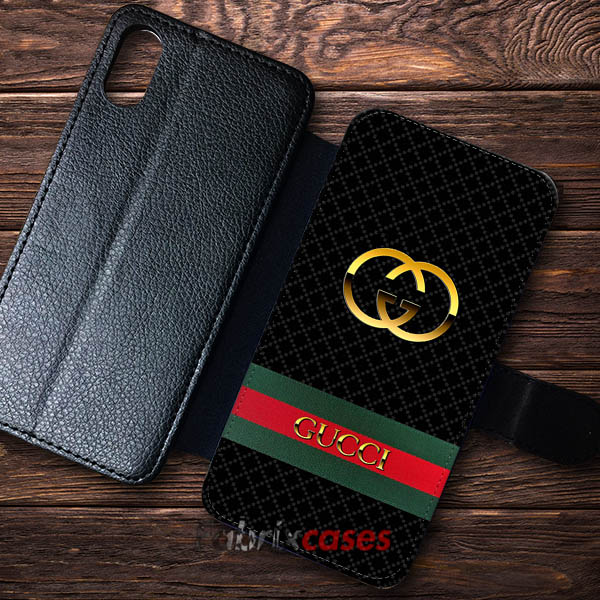 competitive price 01955 ebd4b Gucci Logo Gold Cases Wallet Samsung iPhone Case